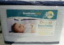 Breathable Baby Deluxe Mesh Crib Liner, White/Navy Trim, New