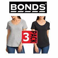 3 x BONDS WOMENS BESTIES RAGLAN COTTON SHORT SLEEVE TEE TSHIRT GREY BLACK TOP