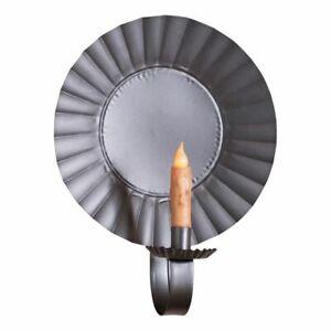 Large Round Hanging Candle Sconce in Smokey Black Tin