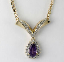 Diamond amethyst V drop necklace 14K yellow gold pear round .95CT mesh chain 6GM