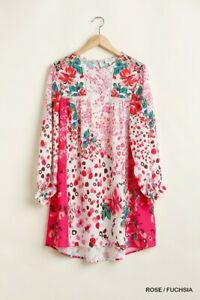 Umgee Rose Fuchsia Mixed Print Crochet Trim Detailed Dress with Ruffle Sleeves