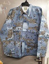 "Blue Camo Combat shirt XL aprox 49"" chest 4 pockets . Long sleeve"