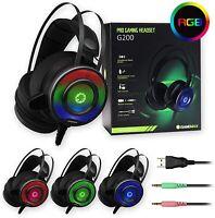GAMEMAX G200 LED BACKLIT GAMING HEADSET   Noise Cancelling Stereo Headphones