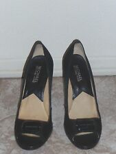 Michael Kors Satin Peep-Toe Shoes 4-inch Stiletto Heel Pumps w/ Logo Sz 7.5 Blk