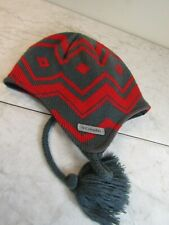 Columbia Red/Gray Knit Fleece Lined Tassels Ski Snowboard Hat Ear Flaps OSFA