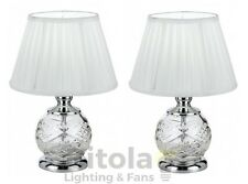 PAIR OF TELBIX VIVIAN BEDSIDE TABLE LAMPS CHROME w/ WHITE SHADE DESK TL-CH/WH