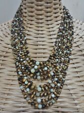 Signed Jay King DRT Tigers Eye Chalcedony Sterling Silver 10 Strand Necklace