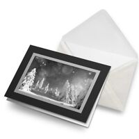 Greetings Card (Black) BW - Awesome Snow Scene Winter Skiing  #41275