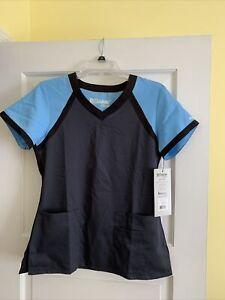 NWT BARCO Grey's Anatomy Blue/Gray/Blk V-Neck 2-Pocket Women's Small Scrub Top