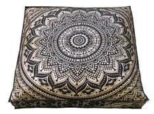 "35"" Indian Square Black Gold Mandala Cushion Floor Pillow Seating Cover Ottoman"