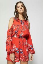 NWT WITCHERY RED FLORAL PLAYSUIT | SZ 10,12,14 | COLD SHOULDER, SLEEVE DRESS