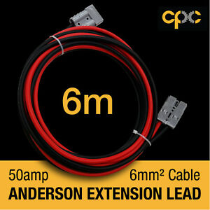 6m 50A AMP for ANDERSON PLUG Extension cable Battery 4x4 4WD CARAVAN SOLAR 12V
