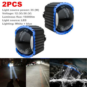 2x LED Car High Beam Lens Bright Headlight Fog Lamp Waterproof Spotlight 16000LM