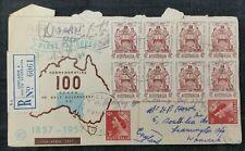 Australia 1957 100 ANNI DI GOVERNO AUTONOMO registrato multistamp FDC per GB