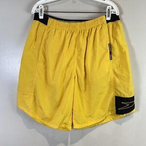 90s Speedo Men L Yellow Swim Trunks Surf Board Shorts Nylon B65