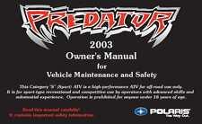 Polaris Owners Manual Book 2003 Predator 500