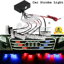 6x3 LED Red&Blue Strobe Super Bright Emergency Car Vehicles Flashing Grill Light