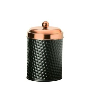 Amici Home Ashby Small Metal Storage Canister 24 oz Black Matte with Copper Lid