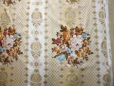 ancien tissu textile ameublement bouquet fleur imprimé vintage 55x120 cm / B