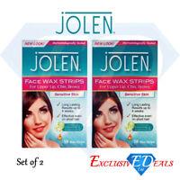 2 x Jolen Face Facial Wax Strips Sensitive Skin Upper Lip Cheeks (2 x 16 Strips)