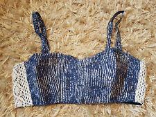 New Women's HOLLISTER Faria Beach Corset Top Size L Navy print RRP £29