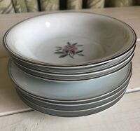 "Vintage Noritake Rosales Fruit Berry Bowls 5-1/2"" and Saucers Rose Platinum Trim"