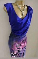 Karen Millen Tropical Print Drape Jersey Top Cocktail Pencil Dress Size 12