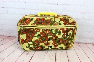 Vintage 1970's Harvest Gold, Avocado Green & Orange Paisley Overnight Suitcase