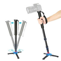 Neewer Extendable Camera Carbon Fiber Monopod with Foldable Tripod Support Base