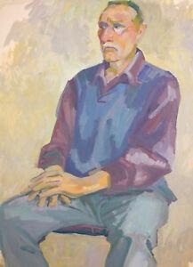 Vintage gouache painting old man portrait