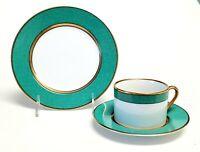 Fitz & Floyd MOUCHETEE-TEAL GREEN Cup & Saucer, Salad Plate - 3 Piece Set