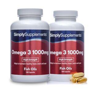 Omega 3 1000mg * 180+180 Capsules * High Strength * For Heart, Brain & Eyes