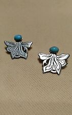 Stunning Turquoise and Sterling Silver Fan Shaped Post Earrings , Signed Masha