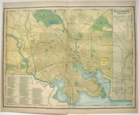 Original 1895 Dated Map of Baltimore, MD by Dodd Mead & Company, Antique