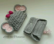 Newborn Baby Girl pink Elephant Hat and Diaper Cover Crochet photo prop Outfits