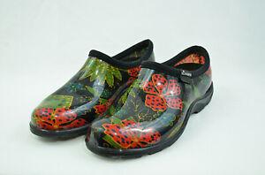 Sloggers Garden Yard Water Rain Women Shoes Clogs Slip On Black Floral Size 6
