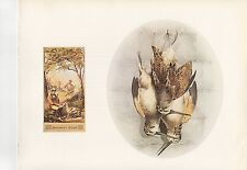 """1972 Vintage HUNTING """"WOODCOCK SPORTSMANS DELIGHT TOBACCO 1861"""" Color Lithograph"""