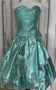 Vtg 80/90's Prom Dress Metallic Sea Green Little Mermaid Sz 6 Taffeta Bubble Hem