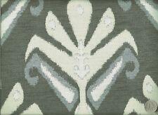 Duralee Tajik Stone Large Ikat Medallion Beige Gray Light Blue Upholstery Fabric