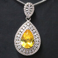 3 Ct Pear Yellow Citrine Necklace Women Jewelry 14K White Gold Plated Free Ship