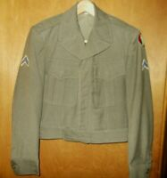 Vintage 1940s WWII Army Military Uniform Ike Jacket w/ Patches Size 34R