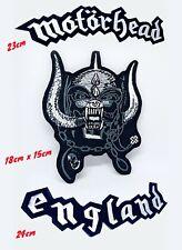 Motorhead England 3 Piece Set Large Biker Jacket Back Sew On Embroidered Patch
