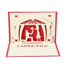 I LOVE YOU Greeting Card 3D Pop Up Paper Cut Postcard Wedding Valentines Gift