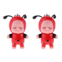 2 Pieces Mini Keychain Doll Sleeping Baby Model Mini Keyrings Pendant Dolls