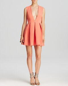 AQ/AQ Aqua By Aqua Vicious Deep Plunge Mini Dress Desert Peach  14 NEW