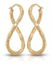 GENUINE 14K GOLD LONG TWIST HOOP ITALIAN EARRINGS ELEGANT & EASY WEAR