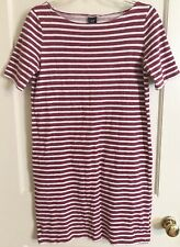 Gap Maternity T-shirt Dress Size Small Red White Stripe Short Sleeve 100% Cotton