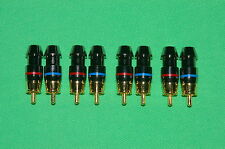 New 8 RCA AUDIO VIDIO GOLD PLATED 4.5mm Plug Connectors - Blue / Red Zink Alloy
