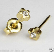 Studex Gold Earrings Tiny Tips Hypoallergenic 4mm Star with Clear Crystal Accent