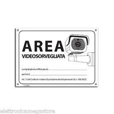 *AREA VIDEOSORVEGLIATA* CARTELLO ADESIVO ETICHETTA PVC